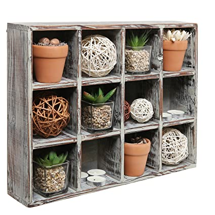 MyGift Freestanding Dark Brown Wood Shelf Rack/Wall Mounted 12 Compartment  Shadow Box/Display