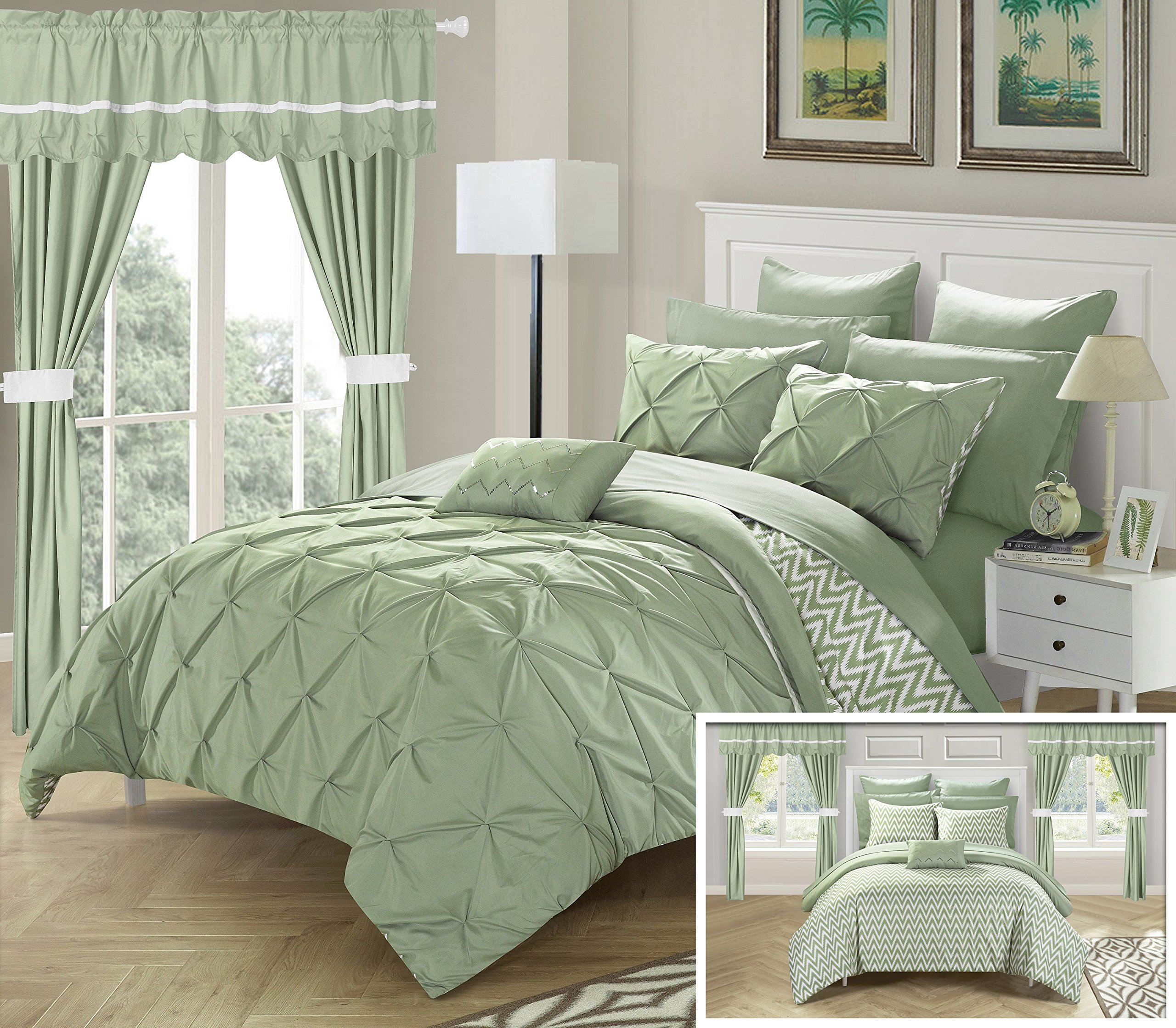 Perfect Home 20 Piece Nashville Complete Bed room in abag Comforter Set,Sheets Set,window treatments included Queen Green