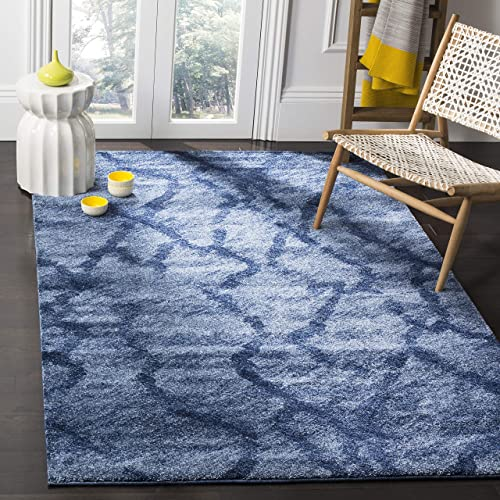 Safavieh Retro Collection RET2144-6570 Modern Abstract Blue and Dark Blue Area Rug 8 x 10