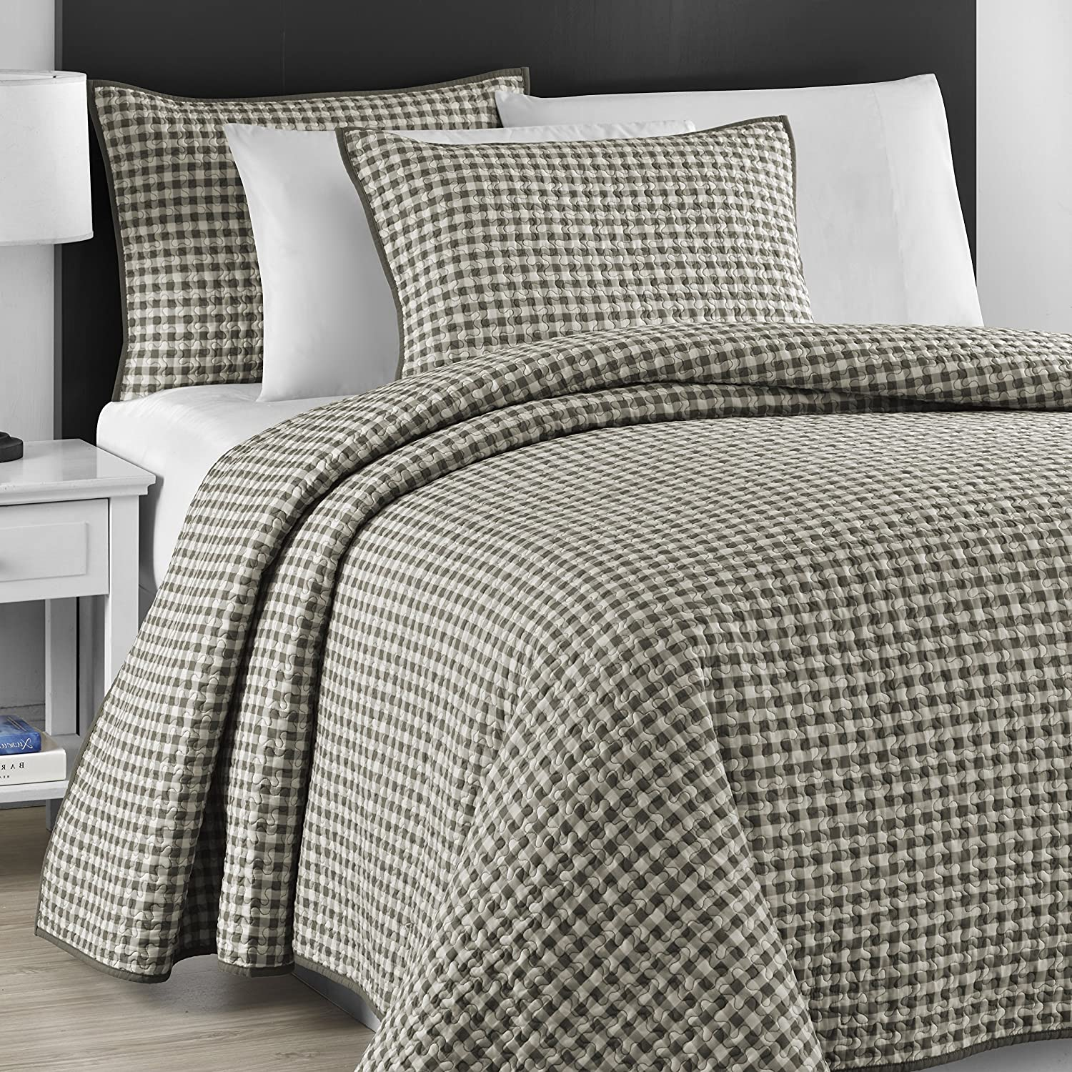 Comfy Bedding Jigsaw Quilted Gray & Off White Checkered 3-piece Bedspread Coverlet Set
