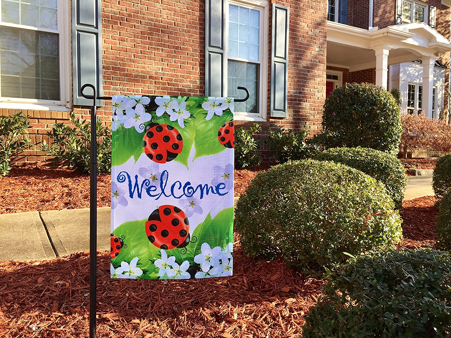 Amazon.com : 51groups Ladybugs Welcome Garden Flag 12\