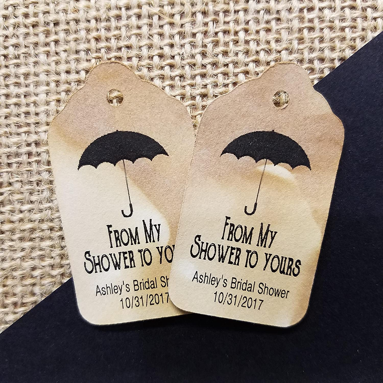SMALL Tea Stained Favor Tag sets of 25 Tags 1 1//8 x 2 From My Shower to Yours Personalized with your party information