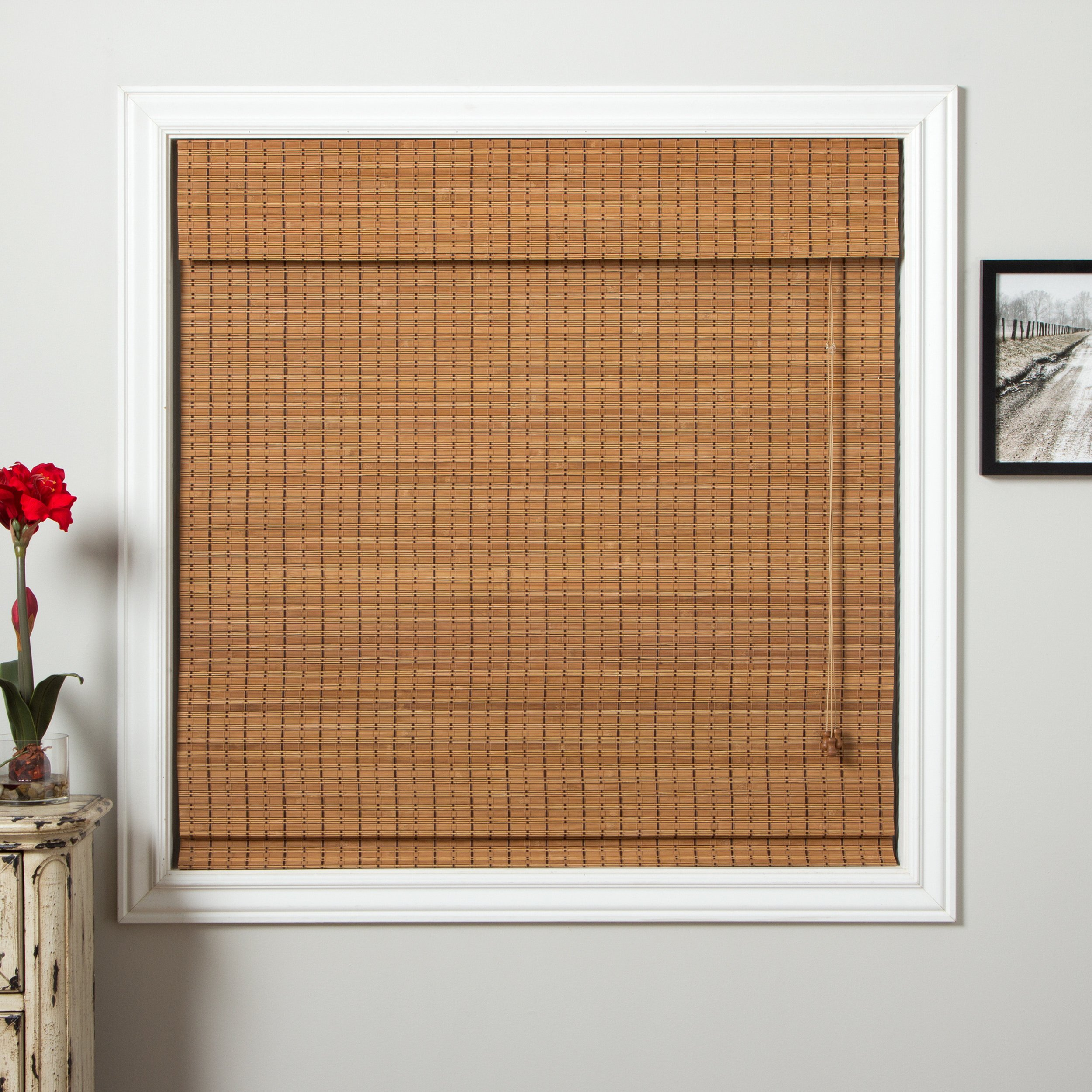 1 Piece 71''Wx74''L Brown Grain Ochre Tan Natural Wood Pull Up Bamboo Blind Home Decor Rustic Roman Shade Horizontal Slat Elegant Beautiful Perfect Fit Nature Window Treatment Allows Gentle Sunlight