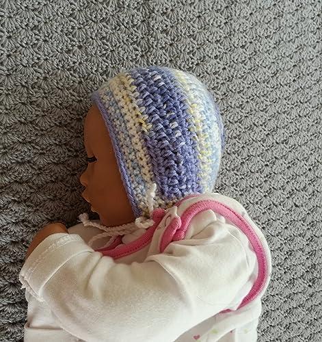 Babymütze, , Babybonnet, gehäkelt aus Acryl, Neugeborene: Amazon.de ...