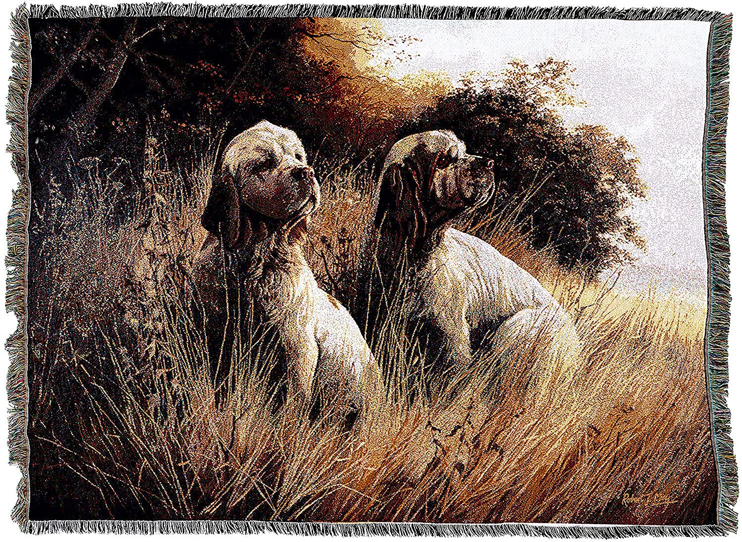 Pure Country Weavers English Springer Spaniel Woven Tapestry Throw Blanket with Fringe Cotton USA Size 72 x 54