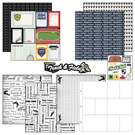 Amazon.com: Scrapbook Customs Themed Paper and Stickers Scrapbook Kit, Track & Field Journal