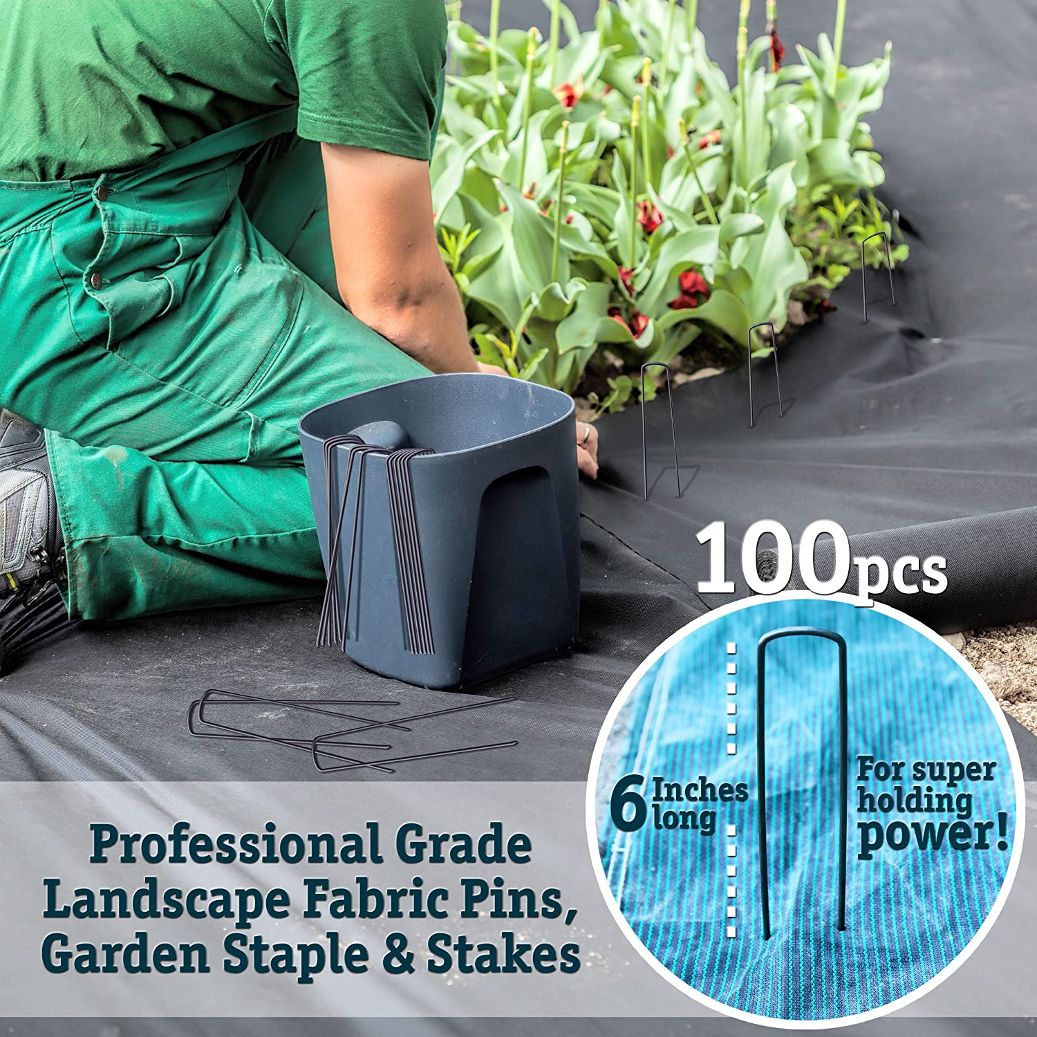 50 6-Inch Garden Landscape Staples Stakes Pins - USA Strong Pro Quality Built to Last. Weed Barrier Fabric, Ground Cover, Soaker Hose, Lawn Drippers, Irrigation Tubing, Wireless Invisible Dog Fence… : Garden & Outdoor