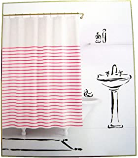 Kate Spade Harbour Stripe Pink White Fabric Shower Curtain