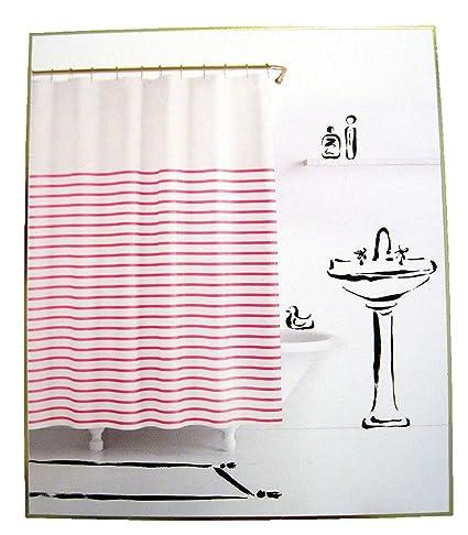 Amazon Com Kate Spade Harbour Stripe Pink White Fabric Shower