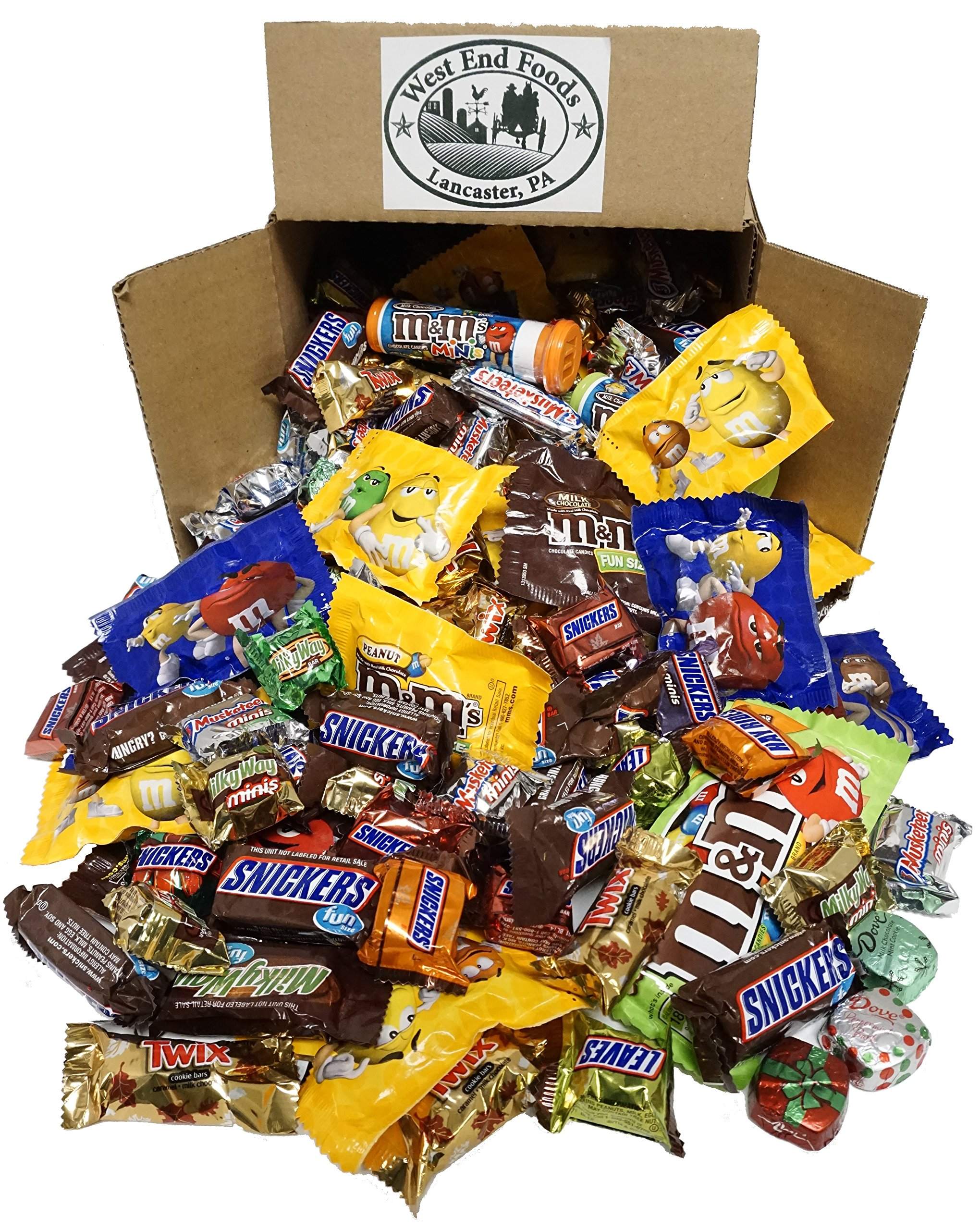 Chocolate Box (5 LBS) Halloween Assortment of M&M's Candy, Snickers, MilkyWay, Twix, Bulk Fun and Mini Size Snacks for your Christmas Stockings Gift, Party, Buffet, or Pinata by West End Foods