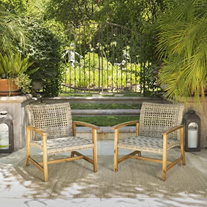 Savannah Outdoor Mid Century Grey Wicker Club Chairs With Natural Stained  Acacia Wood Frame