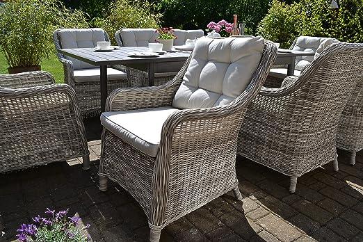 Juego de sillones de ratán de Bomey con acolchado, juego de 6 piezas I seis sillones de jardín gris acolchado beige I sillones para jardín terraza jardín de invierno: Amazon.es: Jardín