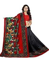 Jaanvi Fashion Women's Art Silk Kalamkari Printed Saree (Black)