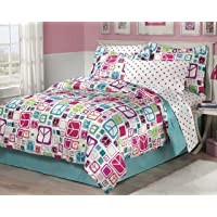 My Room Retro Peace Signs Turquoise Pink Girls Comforter Set with Bedskirt