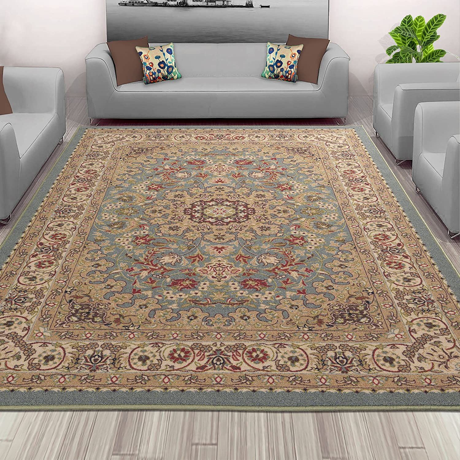 Sweet Home Stores Floral Design Non-Slip Rubber Backing Runner Rug, 2'2 X 6'0, Seafoam SH3096-2X6
