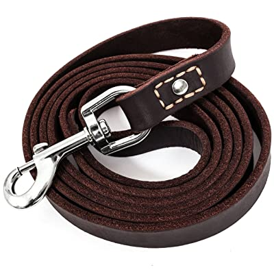 "LEATHERBERG Leather Dog Training Leash 6 Ft Long x 3/4"" Wide Dog Walking Leash Best"