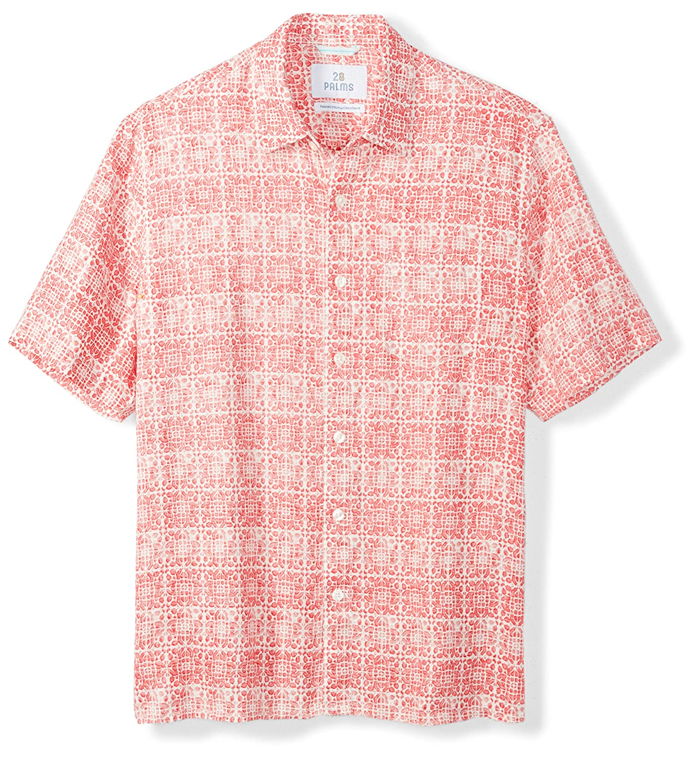 6ff02ef0 Amazon.com: Amazon Brand - 28 Palms Men's Relaxed-Fit 100% Linen Reverse  Print Shirt: Clothing