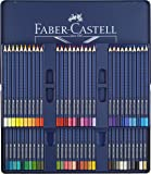 Faber-Castell 114260 - Estuche de metal con 60 ecolápices triangulares acuarelables Art Grip, lápices para adultos