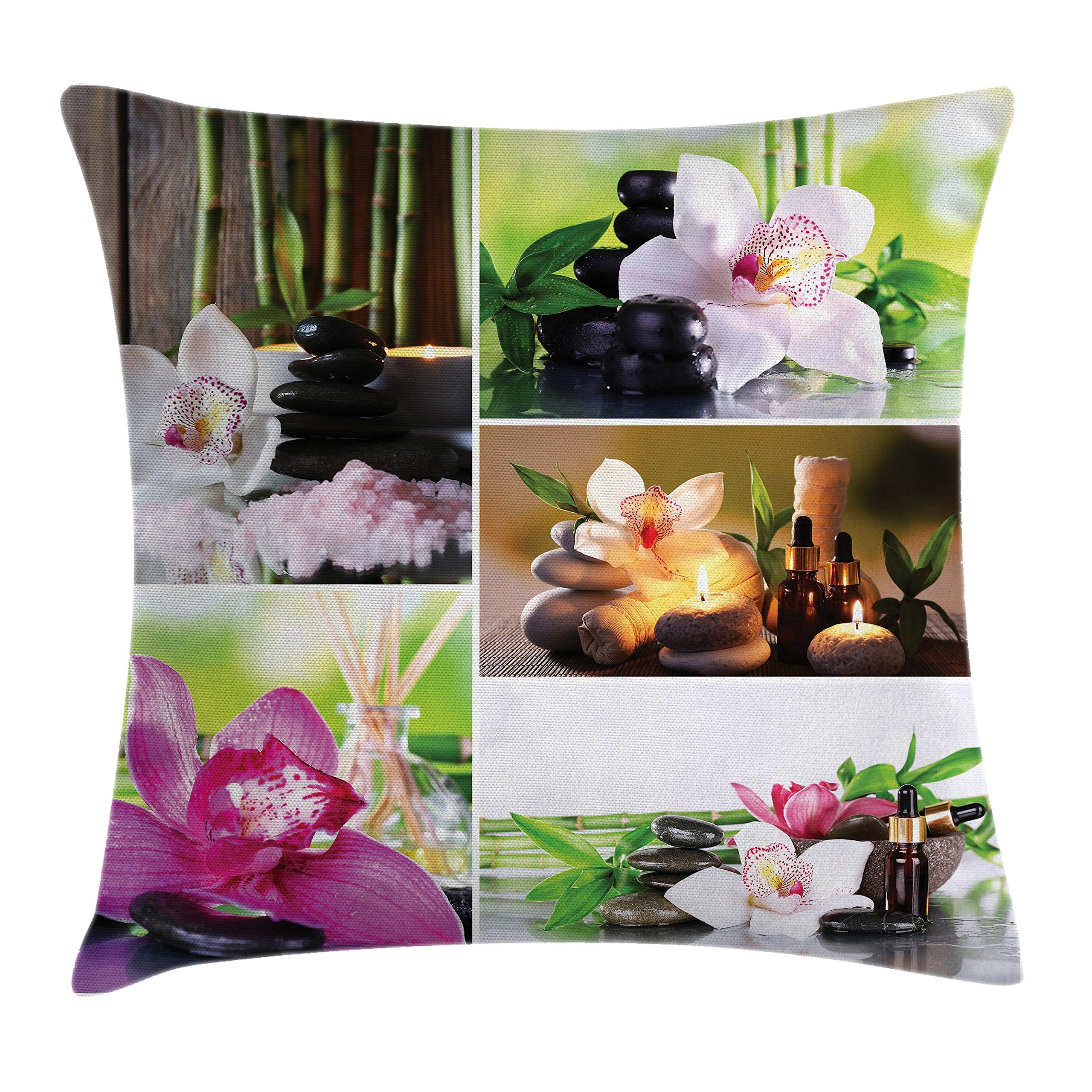 Ambesonne Spa Throw Pillow Cushion Cover, Spa Day Collage with Orchids Stone Pebbles Natural Herbal Oils Body and Mind Treatment, Decorative Square Accent Pillow Case, 18 X 18 inches, Multicolor