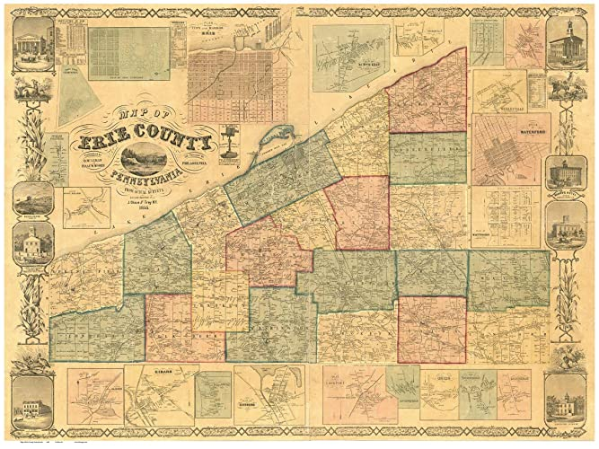 Amazon.com: Erie County Pennsylvania 1855 - Wall Map with Homeowner on