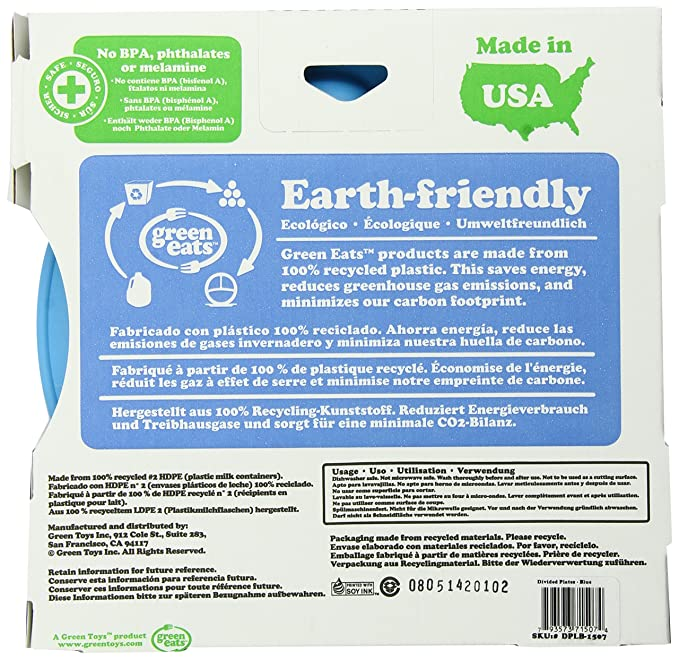 Green Eats 2 Pack Divided Plates Blue