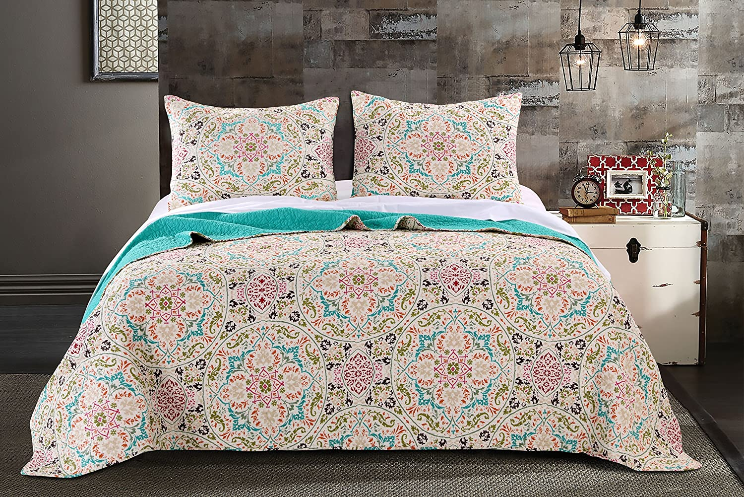 Greenland Home 3 Piece Morocco Gem Quilt Set, Full/Queen