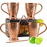 Moscow Mule Copper Mug Set - 100% Pure - Bonus 4 Copper Straws/Stir Sticks for Cocktails, Juleps & Russian Mules. Kamojo Gift Set of 4 Mugs