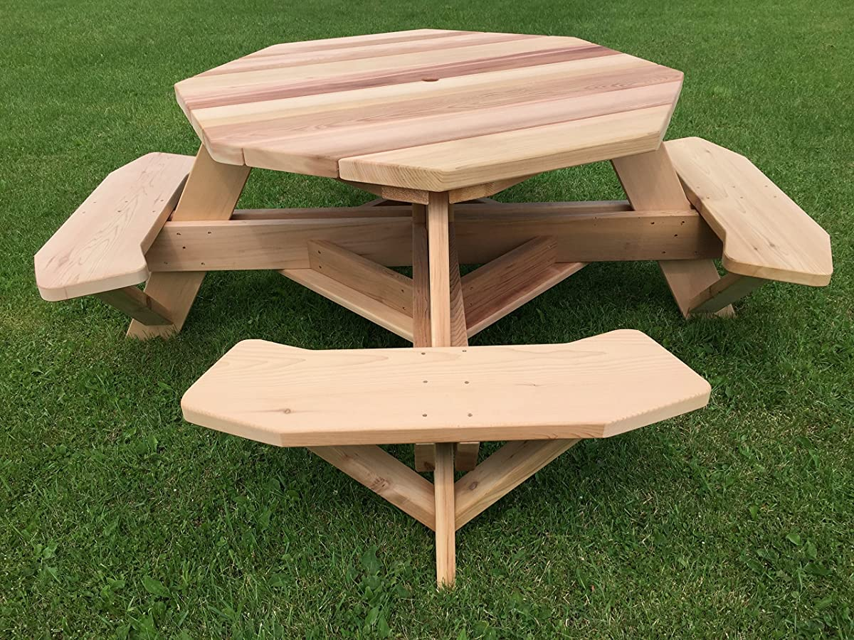 """Western Red Cedar 49"""" Octagon Top Picnic Table w/Easy Seating"""
