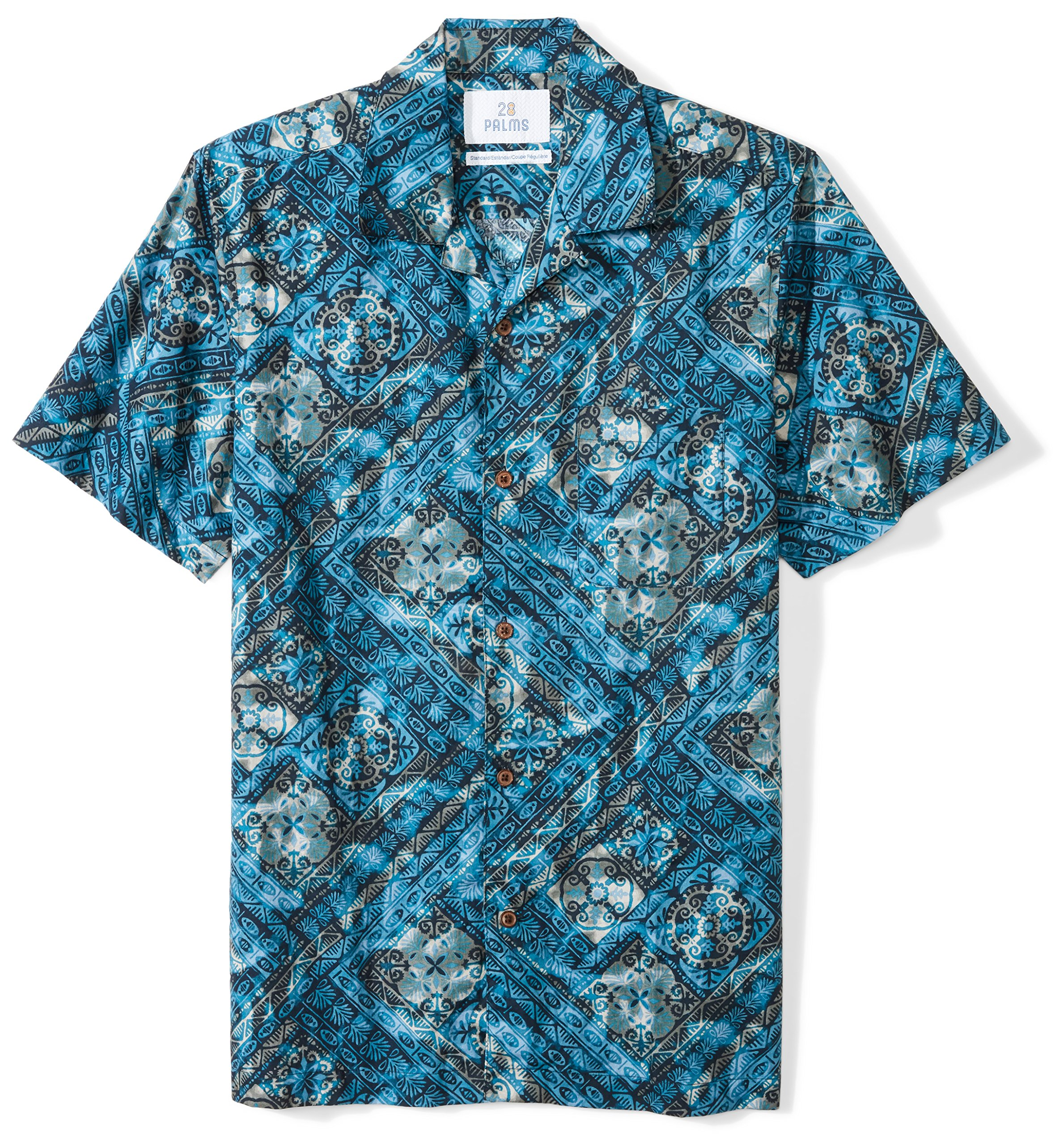 a105a5ee Galleon - 28 Palms Men's Standard-Fit 100% Cotton Tropical Hawaiian Batik  Shirt, Tile Blue, Small