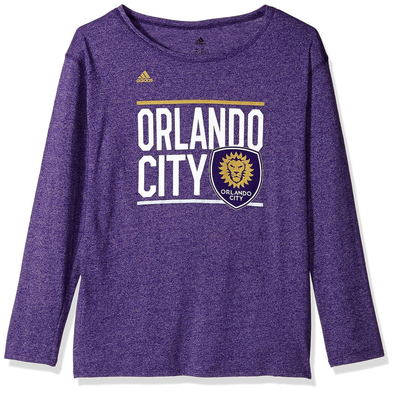 Small Regal Purple MLS Orlando City FC Adult Women Team bar Stack L//s Crew Tee