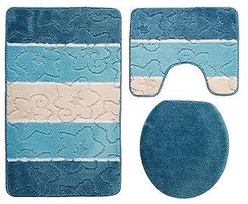 Orion Ensemble salle de bain 3 pièces Turquoise 50 x 80 cm Bleu