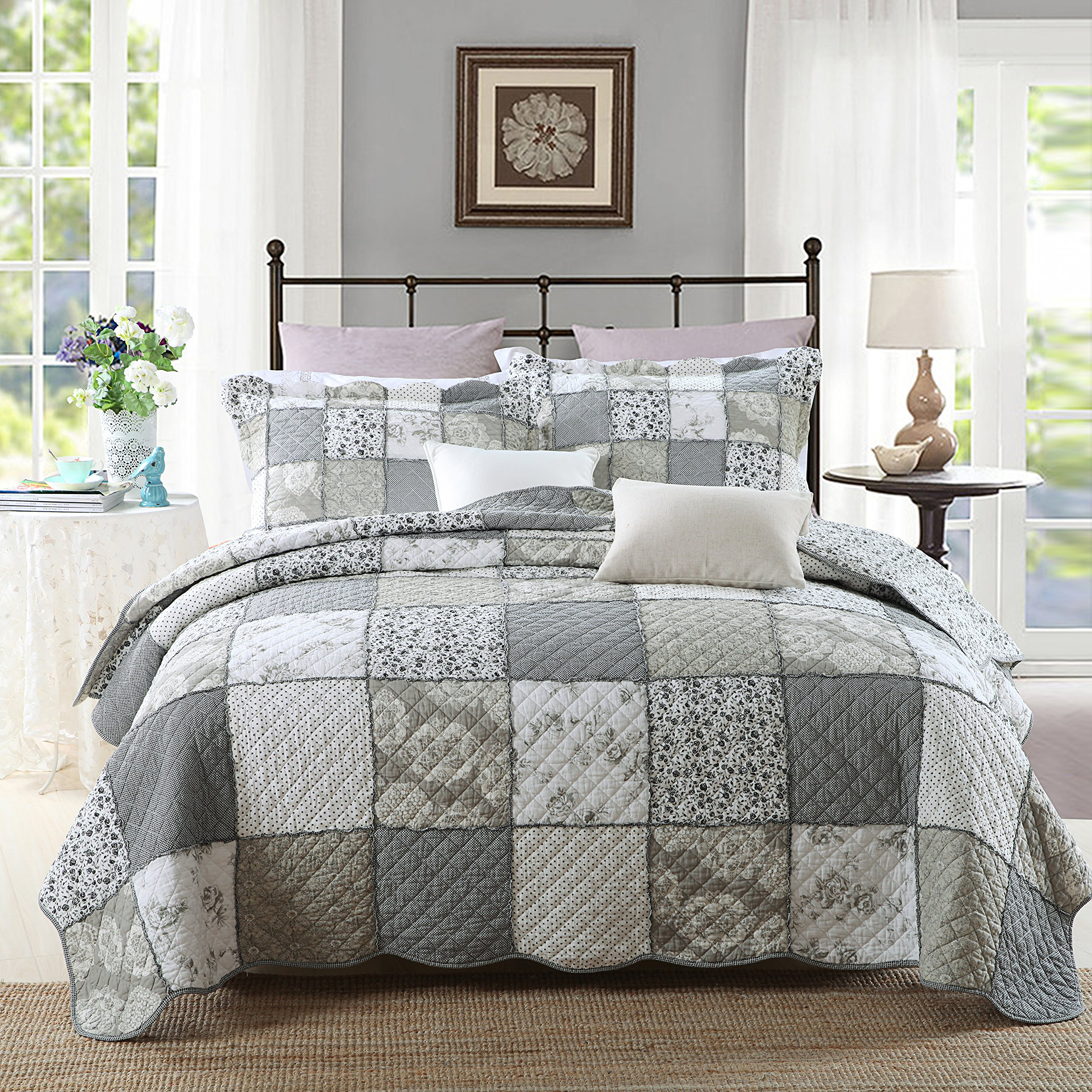 3-Piece Quilt Set Pure Cotton, Patchwork Bedspread Set, Finely Stitched, Coverlet Bed cover, Queen Size by PERYOUN