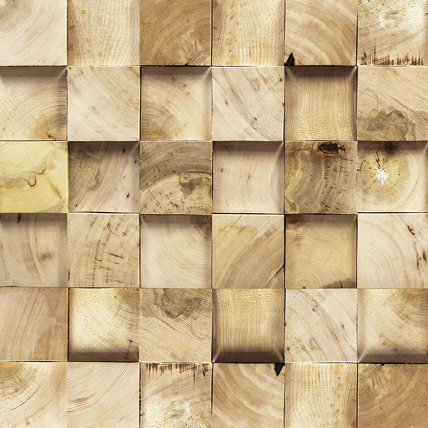 Amazon.com: 3D Reclaimed Square Natural Pine Solid Barn Wood Panels ...