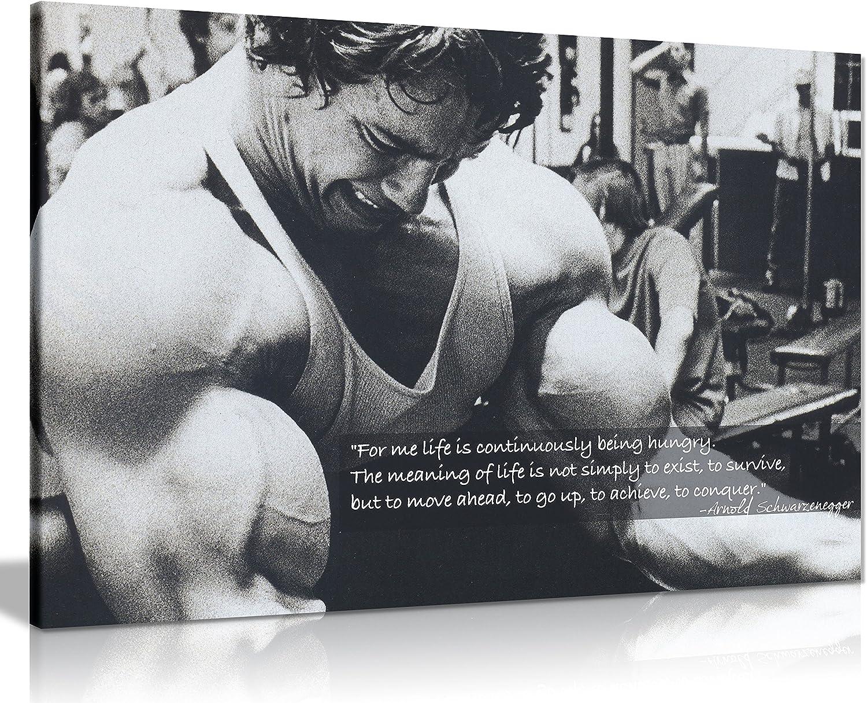 Amazon Com Panther Print Arnold Schwarzenegger Bodybuilding Motivation Quote Canvas Print Picture Wall Art Large 30 X 20 Inches 76cm X 51cm Black White Posters Prints