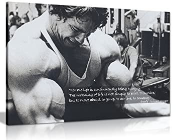 Panther Print Arnold Schwarzenegger Bodybuilding Motivation Quote Canvas  Print Picture Wall Art Large 30 X 20
