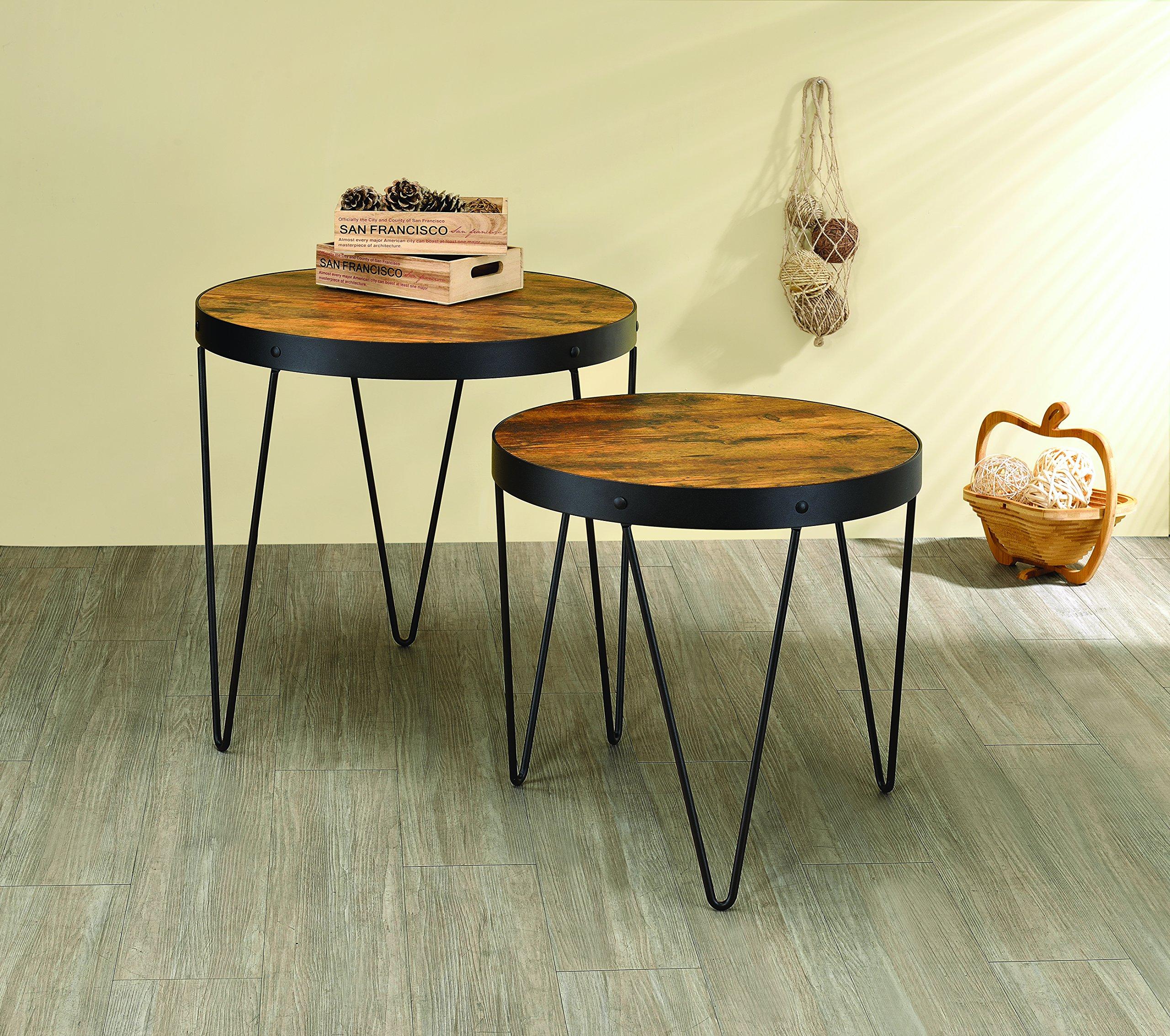 Coaster Home Furnishings Coaster 901944 2Piece Nesting Table Set, Honey Cherry/black