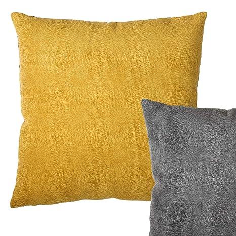 Cojín Reversible de Color Amarillo Mostaza y Gris Oscuro ...