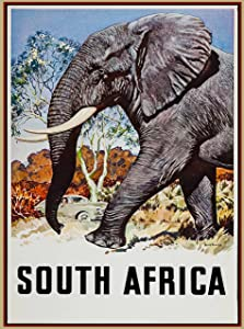 A SLICE IN TIME South Africa Elephant Vintage African Travel Home Collectible Wall Decor Advertisement Art Poster Print. Measures 10 x 13.5 inches