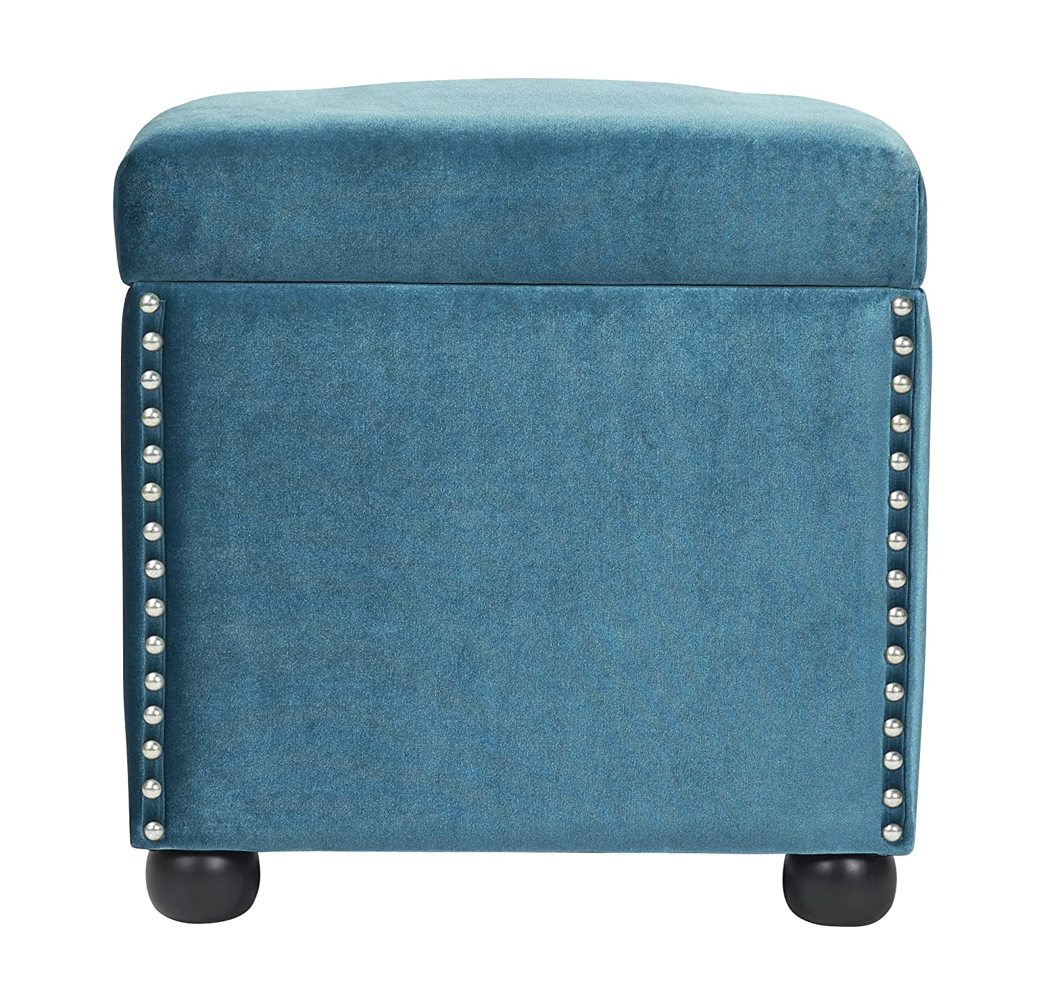 amazoncom jennifer taylor home hailey collection colonial style nailhead trim velvet accent square storage ottoman with wooden legs blue kitchen u0026 - Storage Cube Ottoman