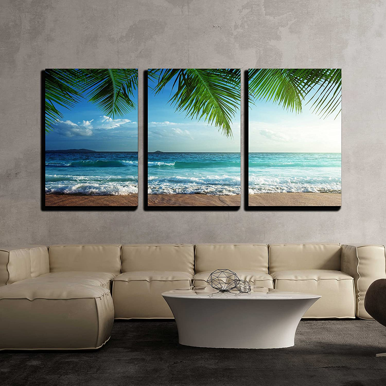 wall26 - 3 Piece Canvas Wall Art - sunset on Seychelles beach ...