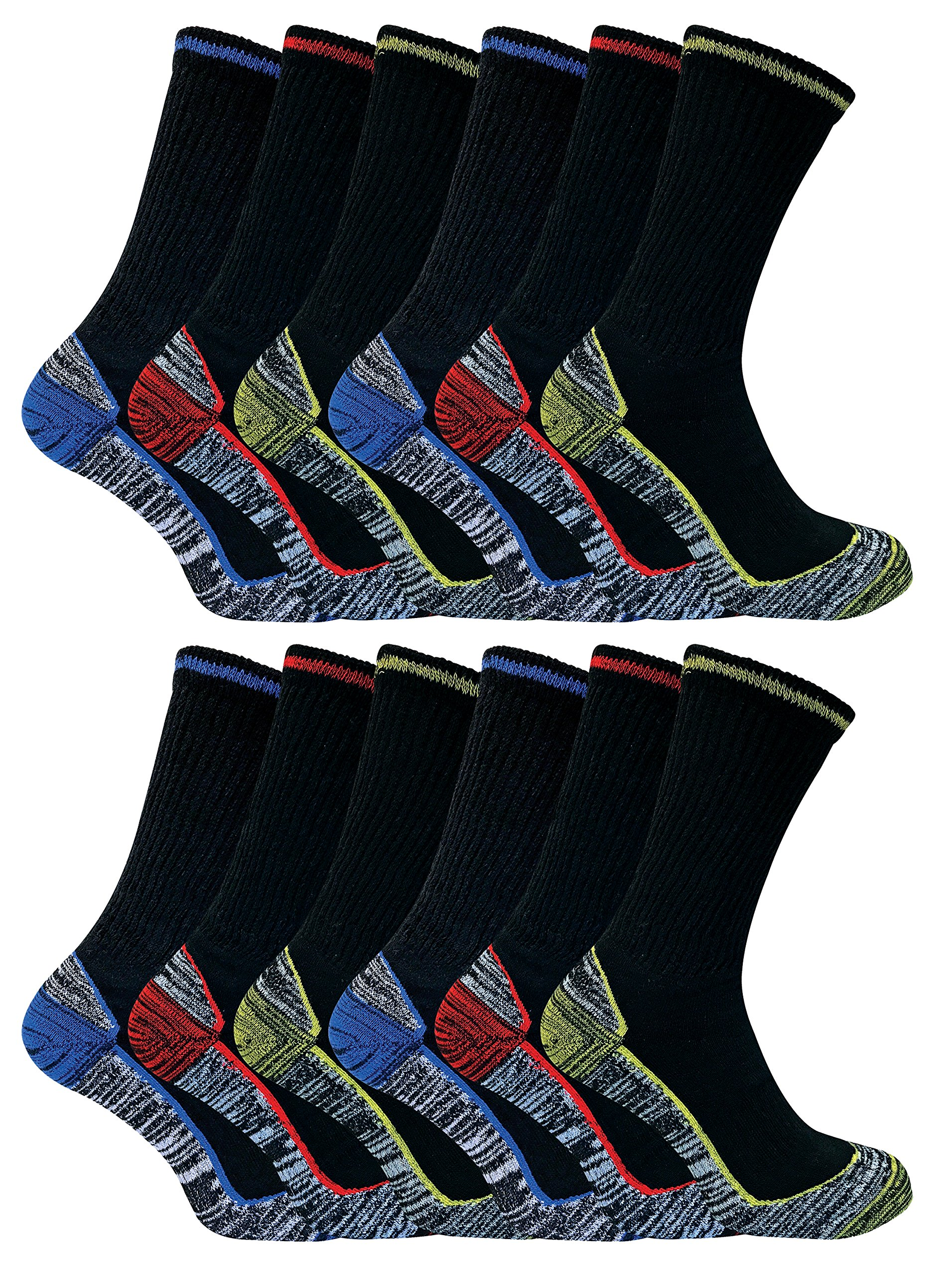 Mens Anti Sweat Moisture Wicking Summer Bamboo Work Socks for Steel Toe Boots (7-12 US, 12 Pack (BWS))