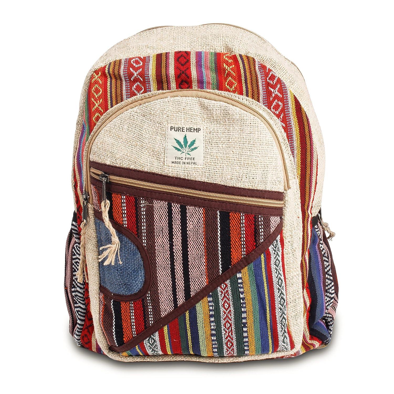 Maha Bodhi All Natural Handmade Multi Pocket Hemp Laptop Backpack – Multi Color Stripe