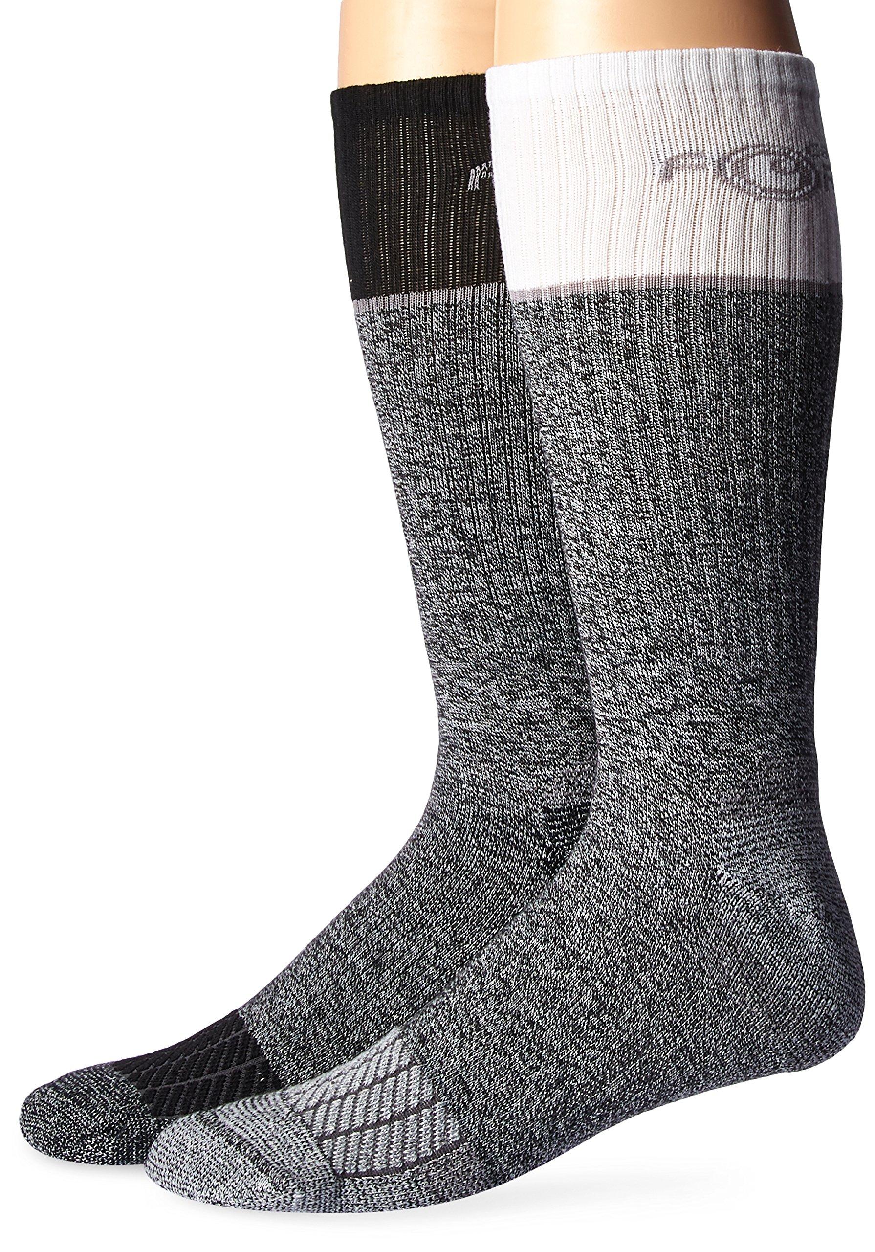 Carhartt Men's Big and Tall Force Performance Steel Toe Crew Socks-2 Pair, Grey, Black, White, Shoe Size: 11-15 (Xlarge)