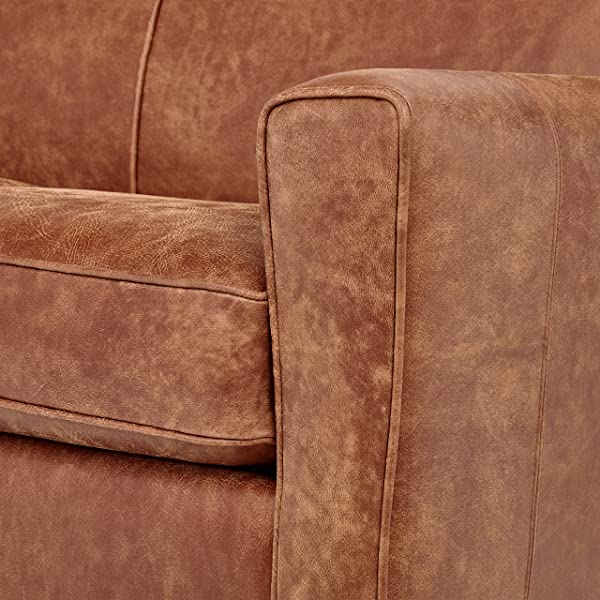 "Rivet Lawson Modern Angled Leather Loveseat, 58""W, Saddle Brown"