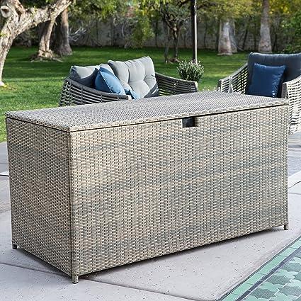 Gentil Home Improvements Driftwood Finish 190 Gallon Resin Wicker Deck Storage Box  Outdoor Patio Storage Bin