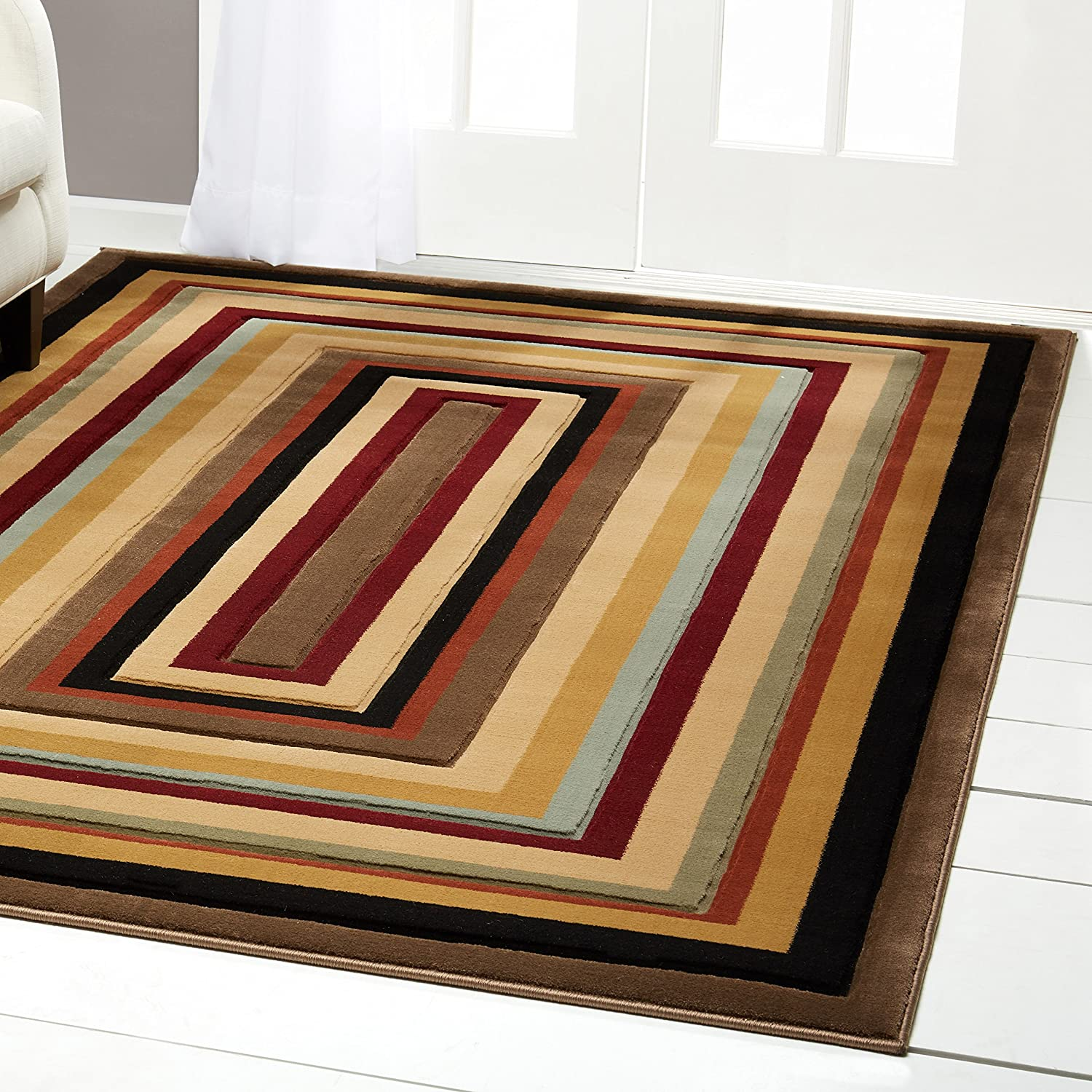 Home dynamix colorful area rug by rectangular pattern modern design indoor rug for the living room dining room bedroom and more soft
