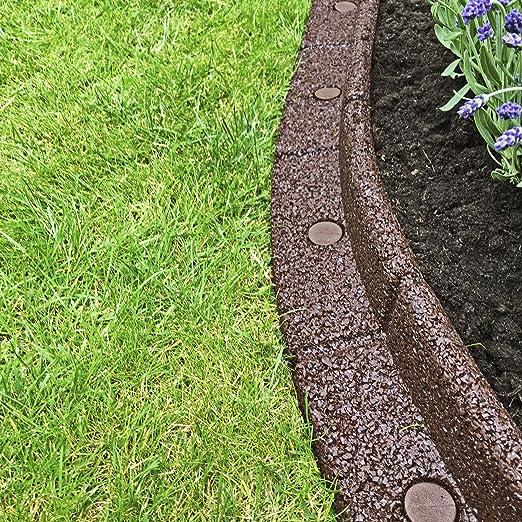 Clifford James Borde de borde para jardín, flexible, forma de pared; respetuoso con el medio ambiente, goma reciclada para césped y patio, marrón: Amazon.es: Jardín