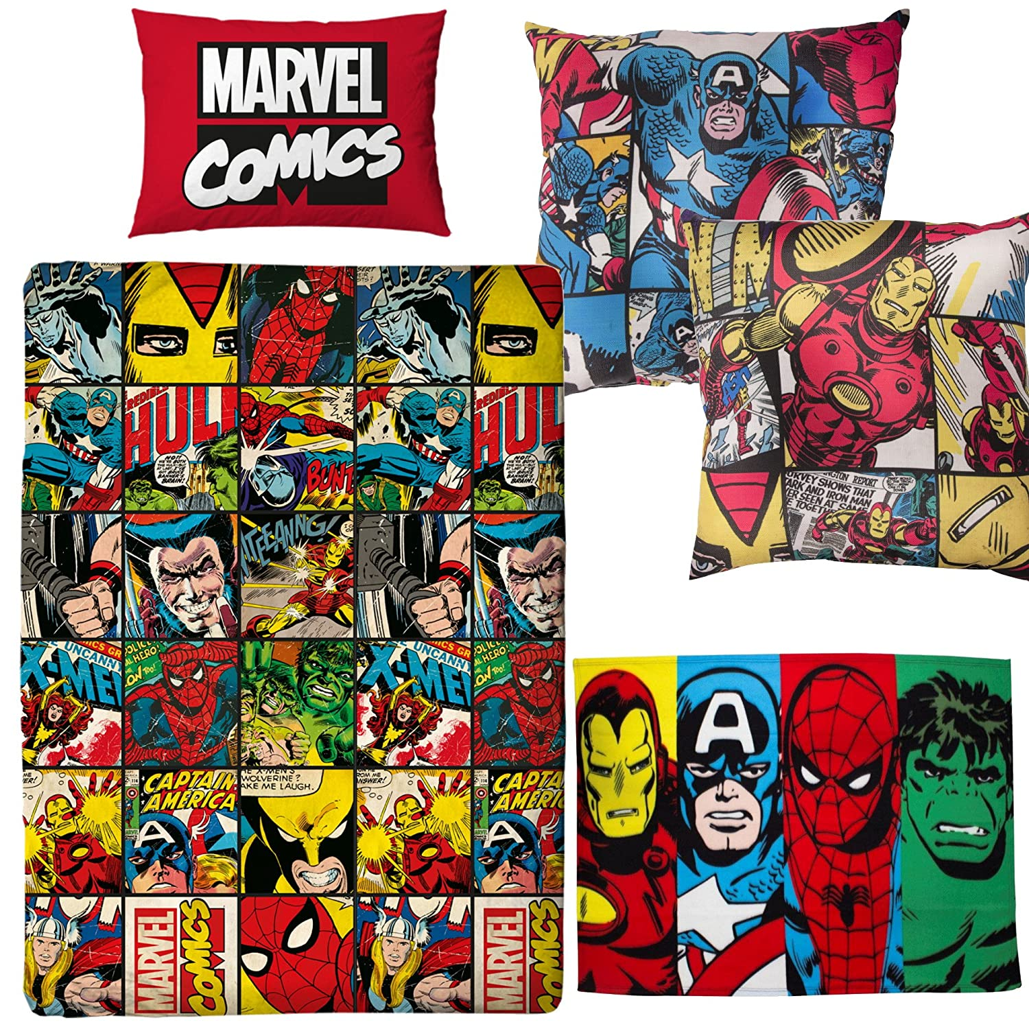 Marvel Comics Defenders Single Duvet Cover & Canvas Cushion & Fleece Blanket Avengers Bedroom Bundle Set Kidco