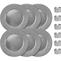 Home Collectives 13 Inch Round Elegant Serve ware Charger Plates with Matching Napkin Rings, Wedding, Dinner party, Event - Choose from our Variety of Styles and Quanties