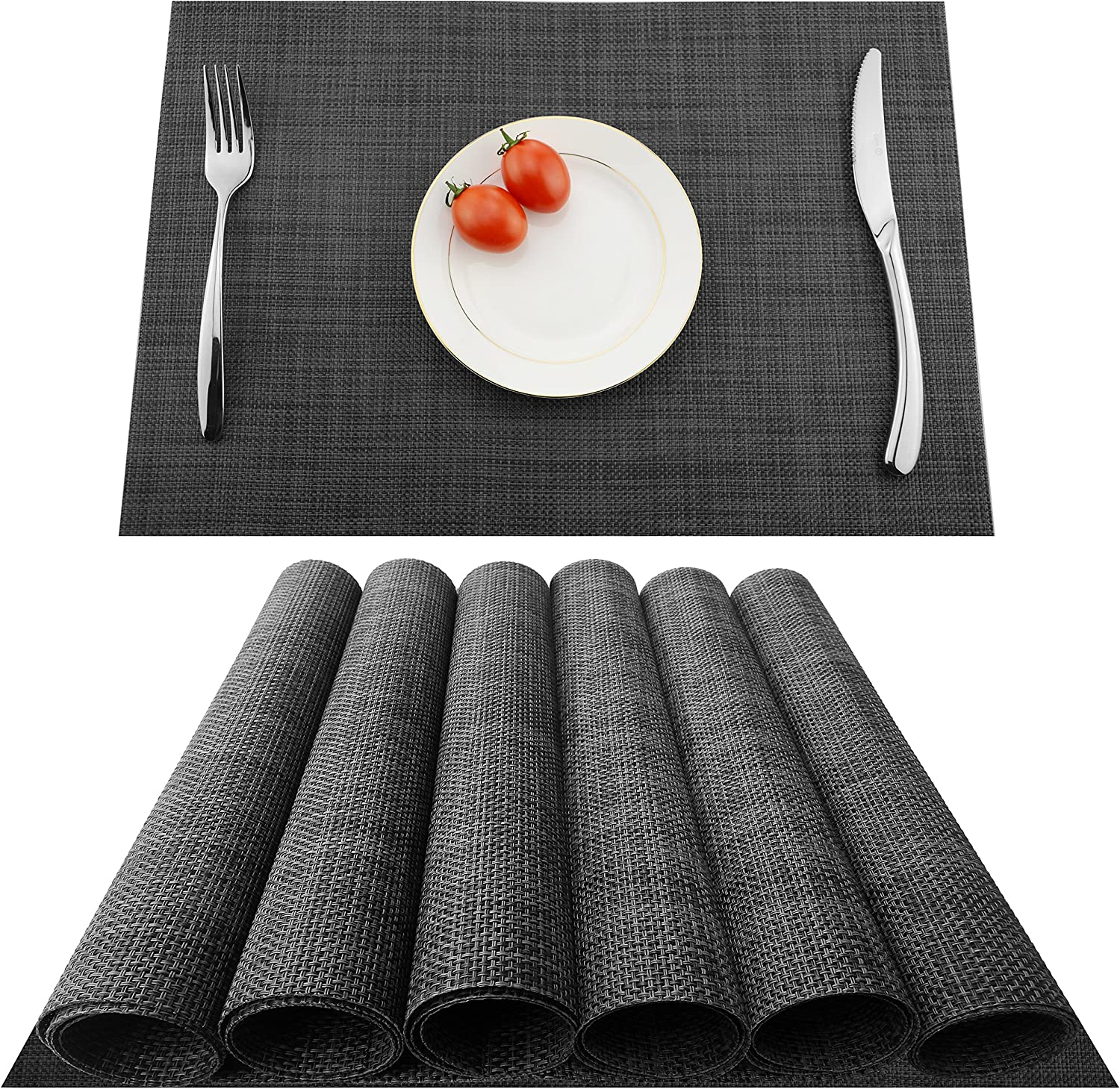 KOKAKO Placemats Heat-Resistant Washable Dining Table Place Mats PVC Kitchen Table Mats by,Set of 6(Dark Gray): Home & Kitchen